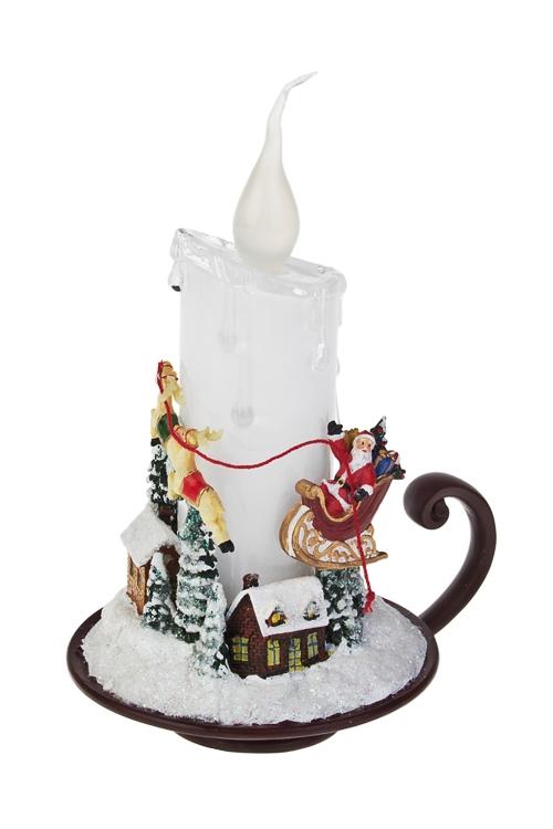 Украшение новогоднее светящееся Свеча с Дедом МорозомСветящиеся украшения<br>Выс=17см, акрил, полирезин, на батар.<br>