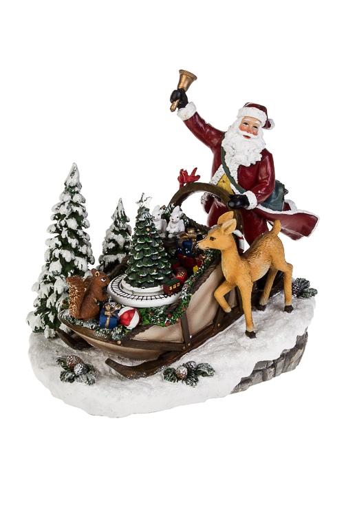 Украшение новогоднее светящеея музыкально-двигающееся Дед Мороз в саняхНовогодние украшения и статуэтки<br>21*15*22см, полирезин, на батар.<br>