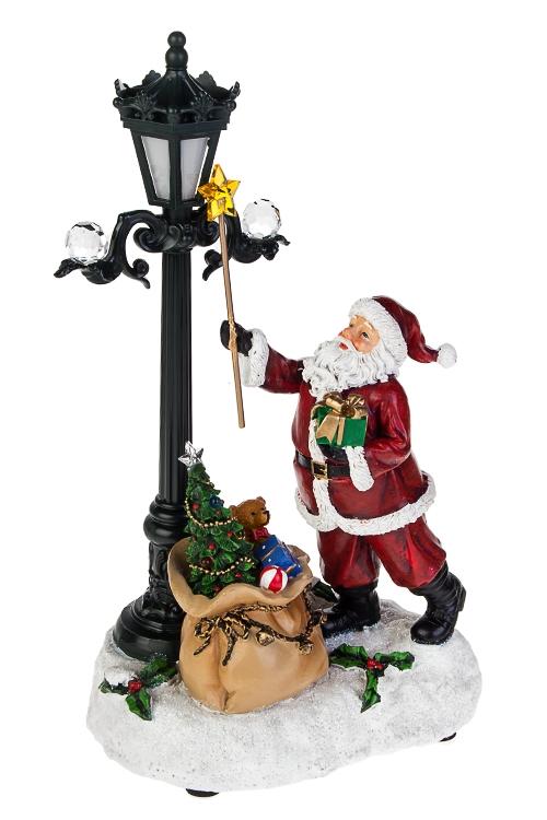 Украшение новогоднее светящееся и музыкальное Дед Мороз с подаркамиПодарки на Новый год 2018<br>17*14*30см, полирезин, акрил, на батар.<br>
