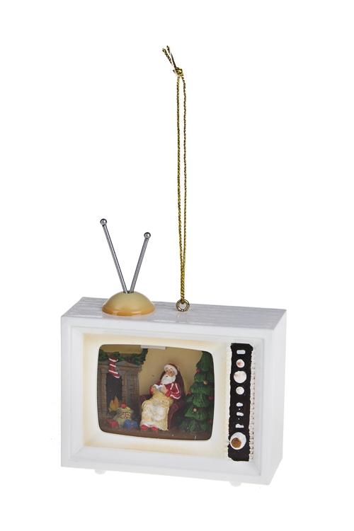 Украшение новогоднее Телевизор - Дед Мороз у елочкиЕлочные игрушки<br>8*3*9см, пластм., полирезин, металл, подвесное<br>
