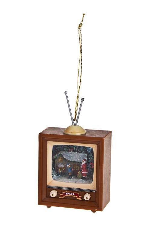 Украшение новогоднее Телевизор - Дед Мороз у домаПодарки<br>6*3*9см, пластм., полирезин, металл, подвесное<br>