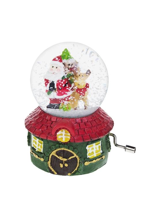 """Шар со снегом музыкальный """"Дед Мороз с елочкой"""""""