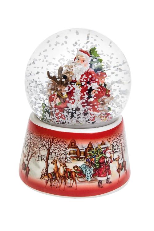Шар со снегом музыкальный Дед Мороз с малышами у елкиНовогодние сувениры<br>Полирезин, стекло, с жидкостью<br>