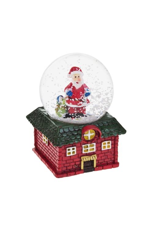 Шар со снегом Время подарковНовогодние сувениры<br>Выс=7см, полирезин, стекло, красно-зеленое<br>