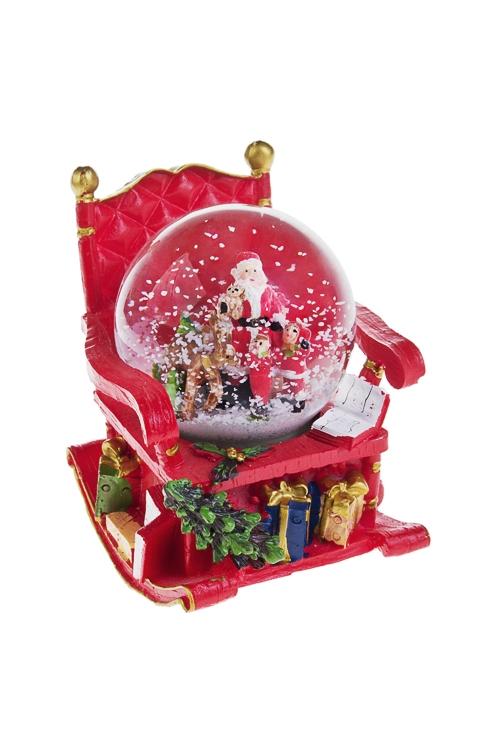 Шар со снегом Ждите поздравленийРождественские украшения<br>Выс=11см, полирезин, стекло<br>