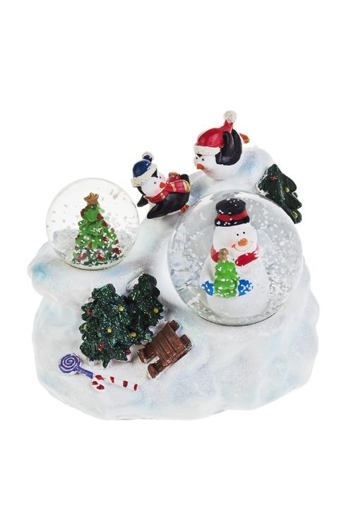 Шары со снегом Снеговик и елочкаРождественские украшения<br>Выс=10см, полирезин, стекло<br>