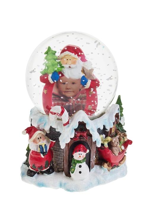 Шар со снегом Дед МорозИнтерьер<br>Выс=16см, с фоторамкой, полирезин, стекло<br>