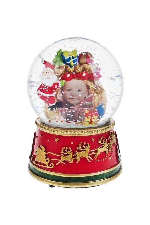 Шар со снегом Время подарковФоторамки для новорожденных и детские<br>Выс=15см, с фоторамкой, полирезин, стекло, красно-зеленое<br>