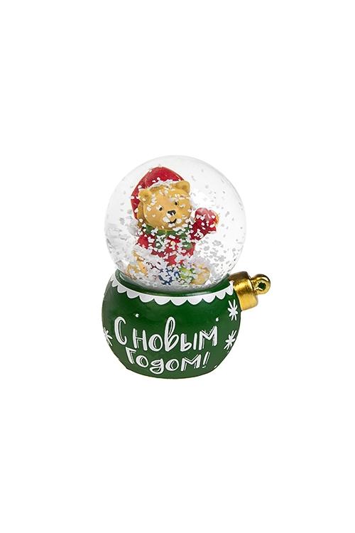Шар со снегом Новогодняя игрушкаШары со снегом<br>Выс=7см, полирезин, стекло, с жидкостью (3 вида)<br>