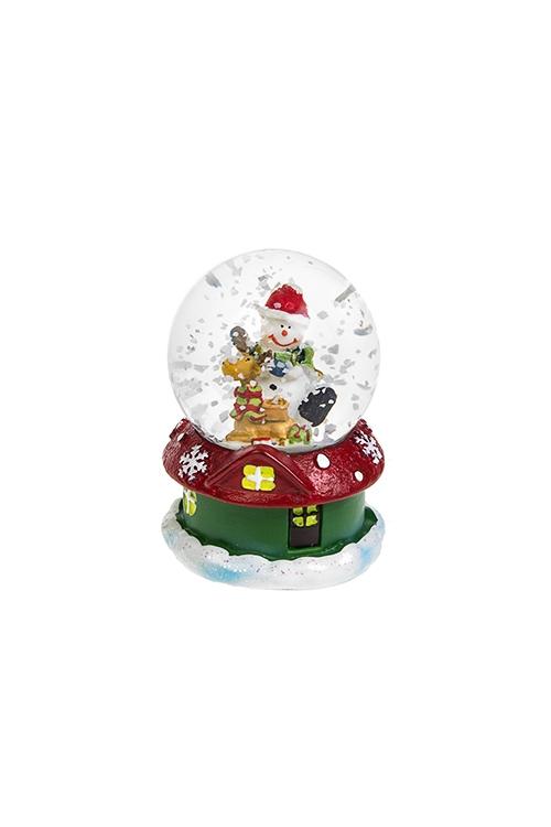 Шар со снегом Снеговик с лосикомШары со снегом<br>Выс=6см, полирезин, стекло, с жидкостью<br>