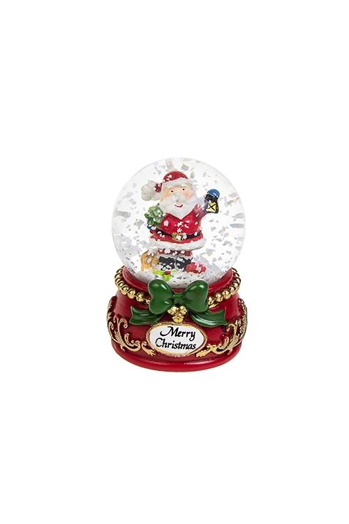 Шар со снегом Дед Мороз с фонарикомНовогодние сувениры<br>Выс=7см, полирезин, стекло, с жидкостью<br>