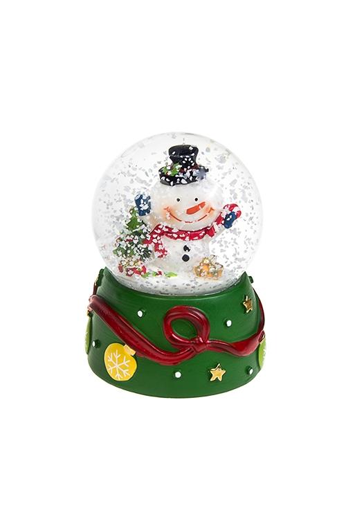 Шар со снегом Веселый снеговикШары со снегом<br>Выс=9см, полирезин, стекло, бело-зеленое, с жидкостью<br>