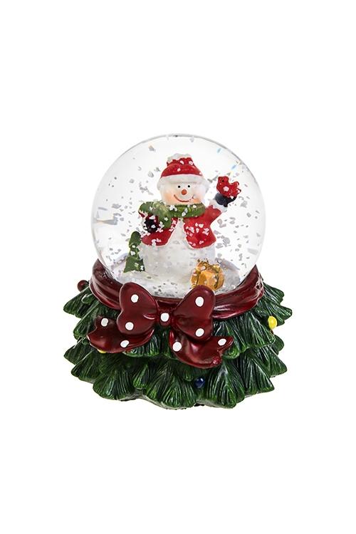 Шар со снегом светящийся СнеговикШары со снегом<br>Выс=9см, полирезин, стекло, на батар., с жидкостью<br>