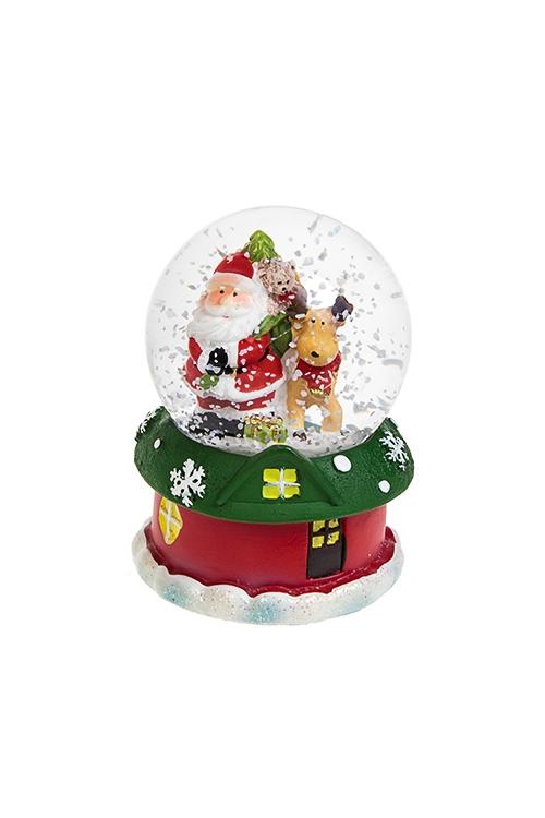 Шар со снегом светящийся Дед Мороз с олененкомНовогодние сувениры<br>Выс=9см, полирезин, стекло, на батар., с жидкостью<br>