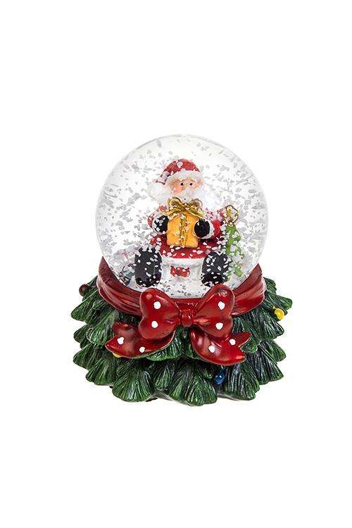 Шар со снегом светящийся Дед Мороз с подаркомНовогодние сувениры<br>Выс=9см, полирезин, стекло, с жидкостью<br>