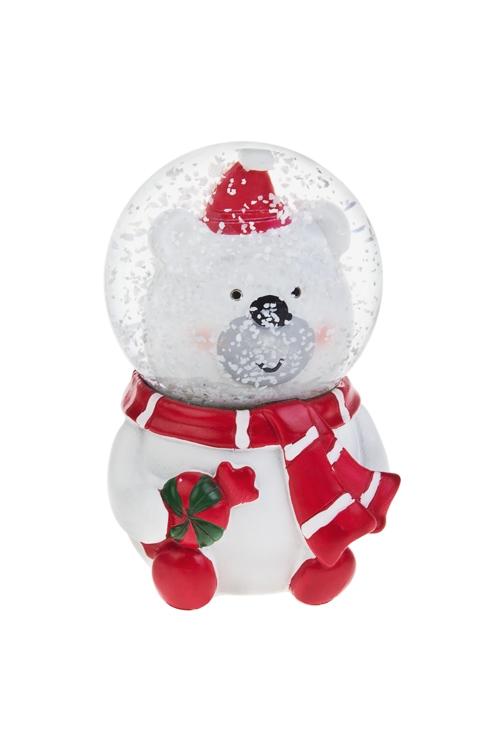 Шар со снегом Милый мишаРождественские украшения<br>Выс=10см, полирезин, стекло<br>
