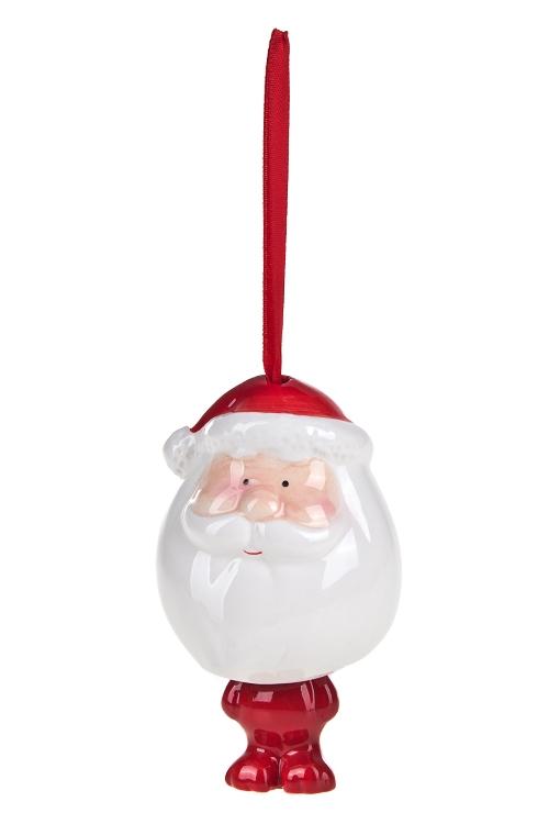 Украшение новогоднее Дед МорозПодарки<br>Выс=10см, керам., красно-белое, подвесное<br>