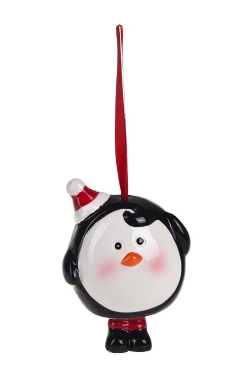 Украшение новогоднее ПингвинПодарки на Новый год 2018<br>Выс=10см, керам., красно-белое-черное, подвесное<br>