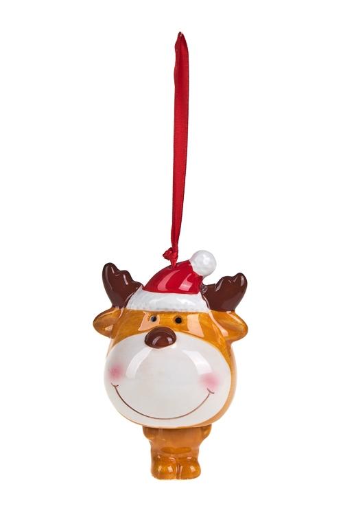 Украшение новогоднее ЛосикЕлочные игрушки<br>Выс=12см, керам., бежево-белое, подвесное<br>