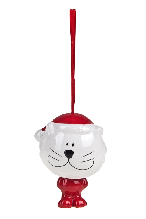 Украшение новогоднее КотикПодарки на Новый год 2018<br>Выс=10см, керам., красно-белое, подвесное<br>