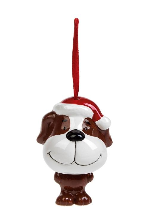 Украшение новогоднее Счастливый песикСувениры и упаковка<br>Выс=10см, керам., коричн.-белое, подвесное<br>