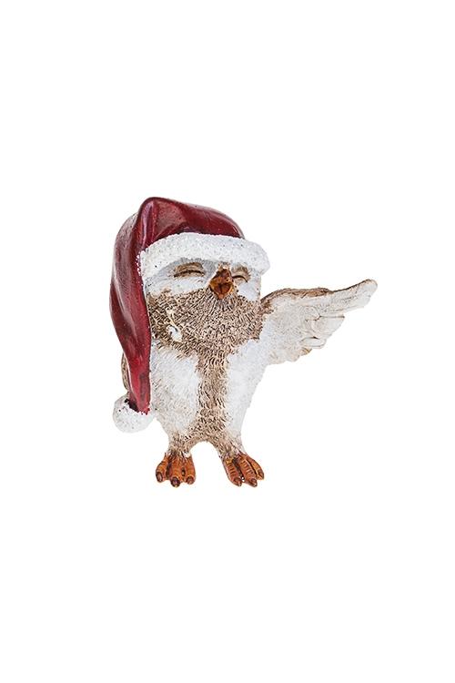 Фигурка новогодняя Песенка для Деда МорозаСувениры и упаковка<br>6*4*8см, полирезин, бело-коричн.-красная<br>