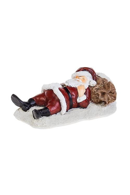 Фигурка новогодняя Спящий Дед МорозСувениры и упаковка<br>16*9*7см, полирезин, крем.-красно-коричн.<br>