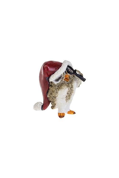 Фигурка новогодняя Важный совенокСувениры и упаковка<br>4*4*5.5см, полирезин, бело-коричн.-красная<br>
