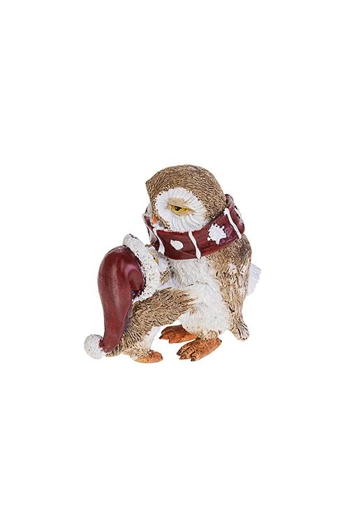 Фигурка новогодняя Совенок с папойСувениры и упаковка<br>6*4*7см, полирезин, бело-коричн.-красная<br>