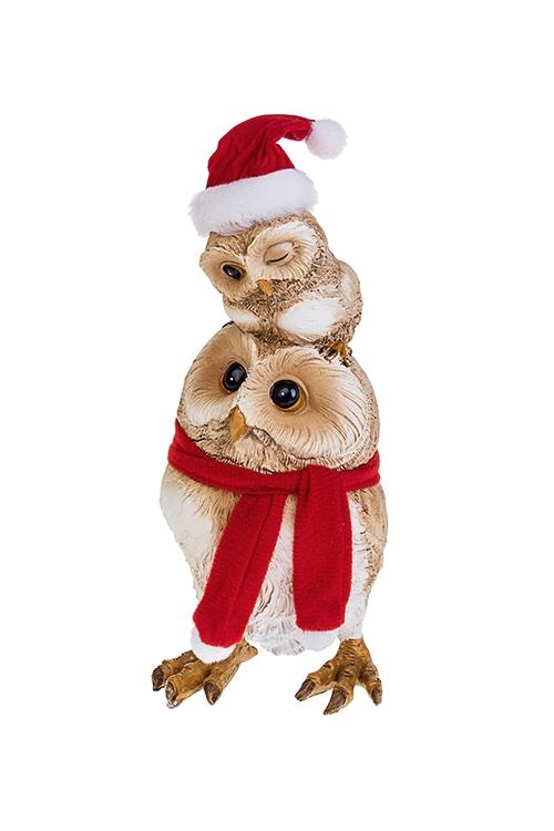 Фигурка новогодняя Совенок с мамойФигурки<br>8*8*18см, полирезин, крем.-коричн.-красная<br>