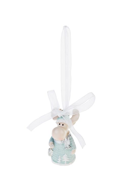 Украшение новогоднее Лосик с фонарикомПодарки<br>Выс=5.5см, полирезин, бело-голубое, подвесное<br>