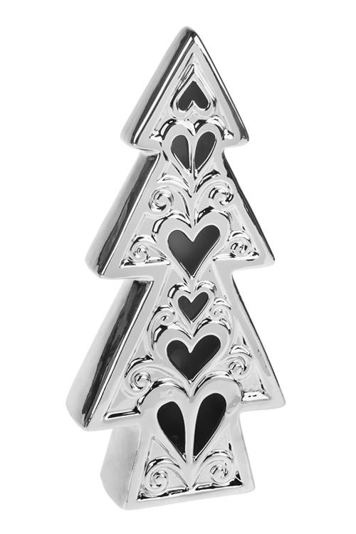 Украшение новогоднее светящееся Елочка с сердцамиРазвлечения и вечеринки<br>11*4*23см, керам., серебр., на батар.<br>