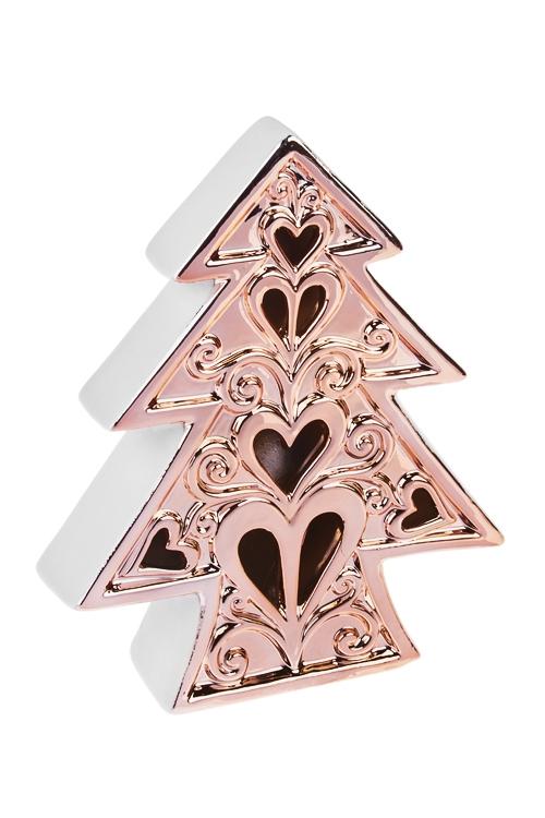 Украшение новогоднее светящееся Елочка с сердцамиСветящиеся украшения<br>15*4*18см, керам., бело-розов.золот., на батар.<br>