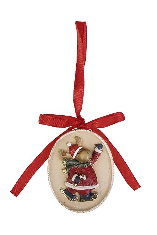 Украшение новогоднее Лосик на лыжахСувениры и упаковка<br>Выс=5.5см, полирезин, крем.-красно-зеленое, подвесное<br>