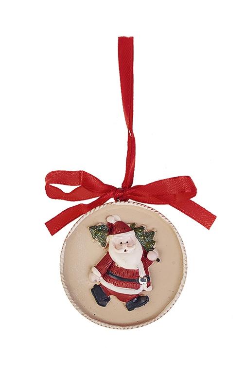 Украшение новогоднее Дед Мороз с елочкойСувениры и упаковка<br>Выс=5см, полирезин, крем.-красно-зеленое, подвесное<br>