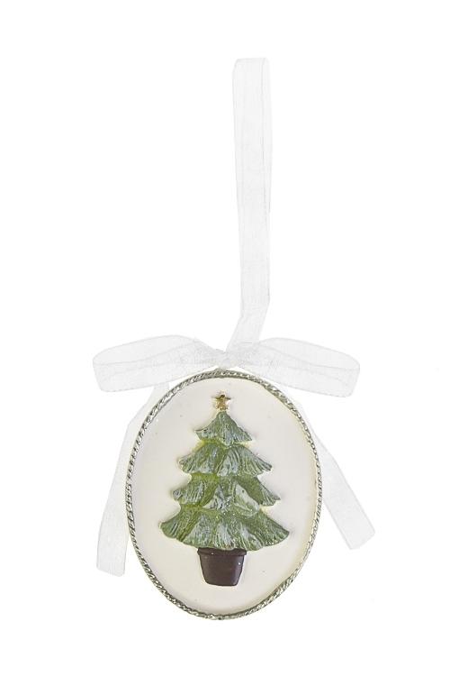Украшение новогоднее ЕлочкаСувениры и упаковка<br>Выс=5.5см, полирезин, крем.-зелено-коричн., подвесное<br>