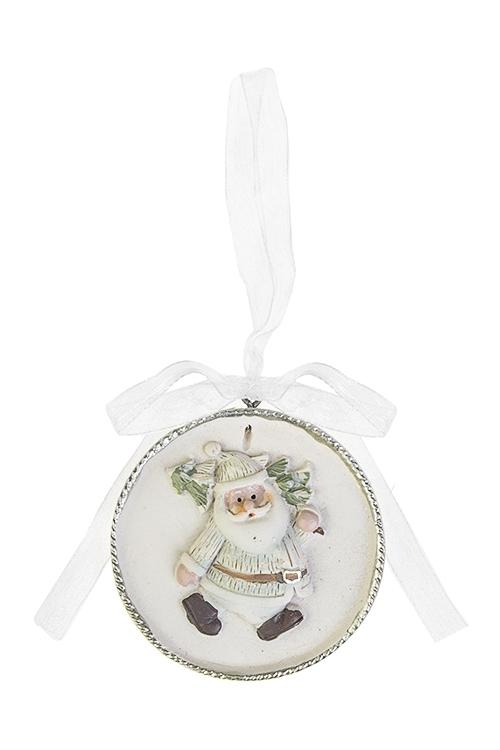 Украшение новогоднее Дед Мороз с ёлочкойСувениры и упаковка<br>Выс=5.5см, полирезин, крем.-бело-зеленое, подвесное<br>