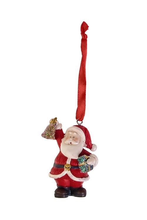 Украшение новогоднее Дед Мороз с колокольчиком и подаркомДекоративные гирлянды и подвески<br>Выс=5.5см, полирезин, крем.-красное, подве<br>