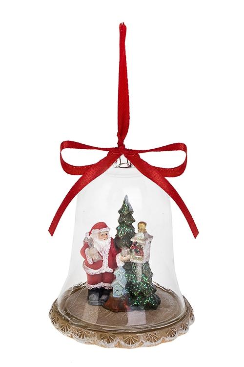 Украшение новогоднее Дед Мороз у ёлкиДекоративные гирлянды и подвески<br>Выс=8.5см, полирезин, стекло, крем.-красно-зеленое, подвесное<br>