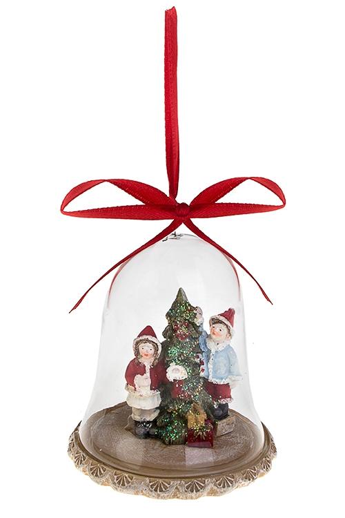 Украшение новогоднее Дети у елкиДекоративные гирлянды и подвески<br>Выс=8.5см, полирезин, стекло, крем.-красно-зелено-голуб., подвесное<br>