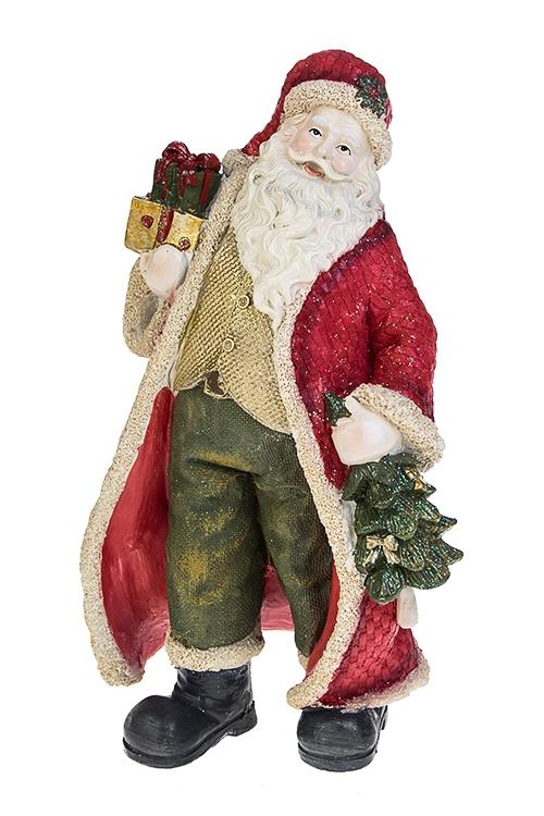 Украшение новогоднее Дед Мороз с ёлочкой и подаркомСувениры и упаковка<br>12.5*26см, полирезин, зелено-красное<br>