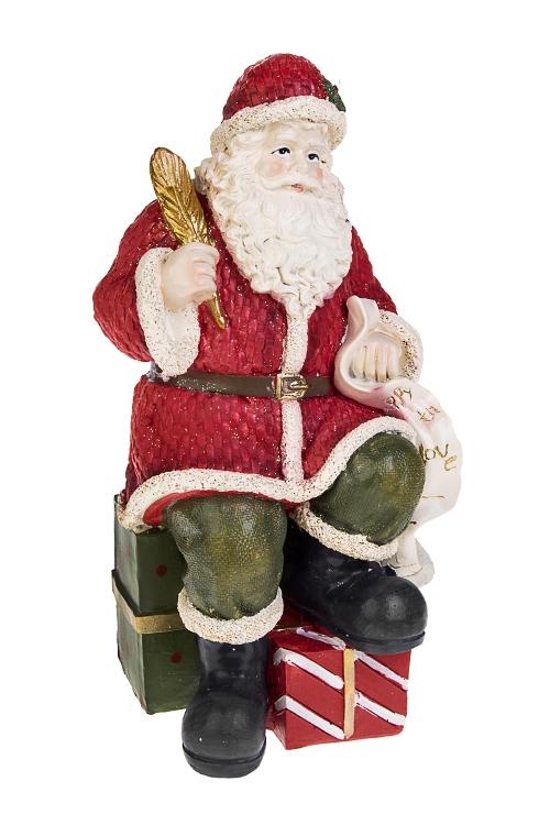 Украшение новогоднее Дед Мороз с подаркамиСувениры и упаковка<br>12.5*25см, полирезин, зелено-красное<br>