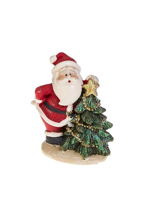 Фигурка новогодняя Дед Мороз у ёлкиФигурки<br>5*9см, полирезин, крем.-красно-зеленая<br>