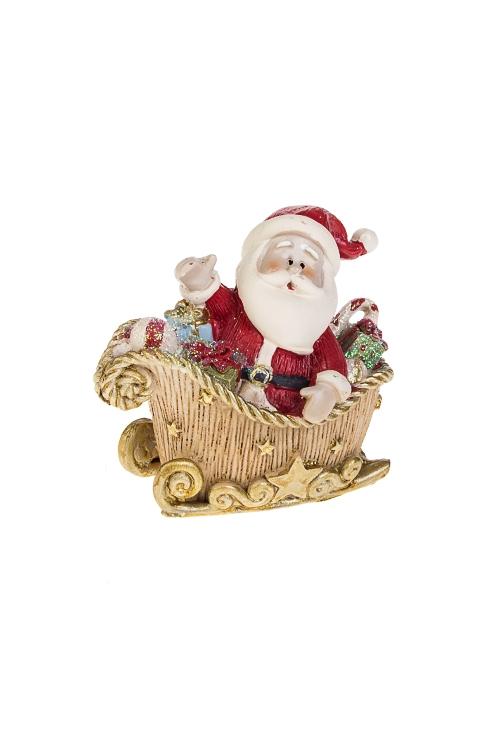 Фигурка новогодняя Дед Мороз в саняхФигурки<br>6*6см, полирезин, крем.-красно-золот.<br>