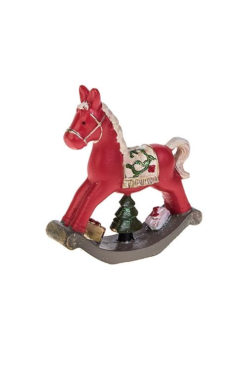 Фигурка новогодняя Конь-качалкаСувениры и упаковка<br>8*8.5см, полирезин, красно-зелено-коричн.<br>