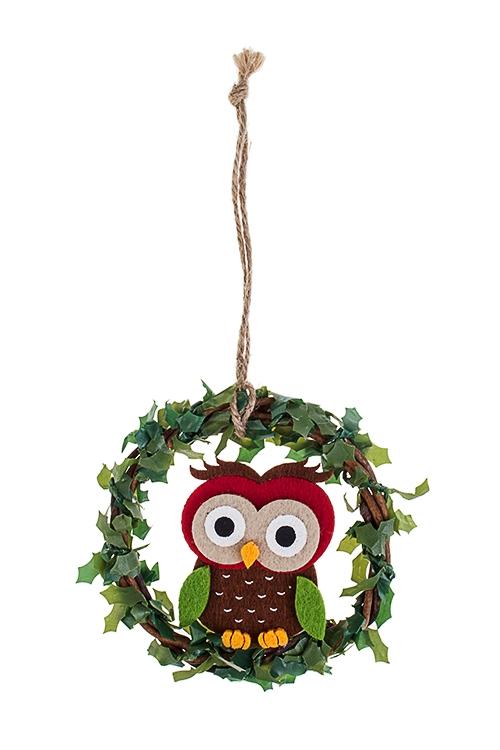 Украшение новогодне Сова с венкомПодарки<br>Д=18см, фетр, подвесное (2 вида)<br>