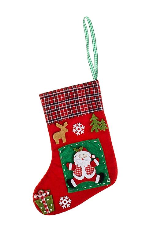 Рождественский носок Носок с Дедом МорозомЕлочные игрушки<br>Выс=24см, фетр, красно-зеленое, подвесное<br>