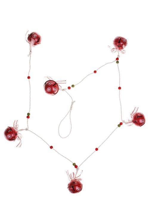 Украшение новогоднее Гирлянда с бубенцамиПодарки<br>Дл=1.3м, металл, красно-белое (2 цвета)<br>