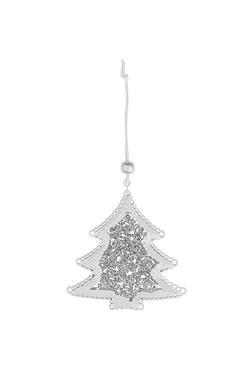 Украшение новогоднее Яркая елочкаПодарки на Новый год 2018<br>Выс=9см, металл, бело-серебр., подвесное<br>