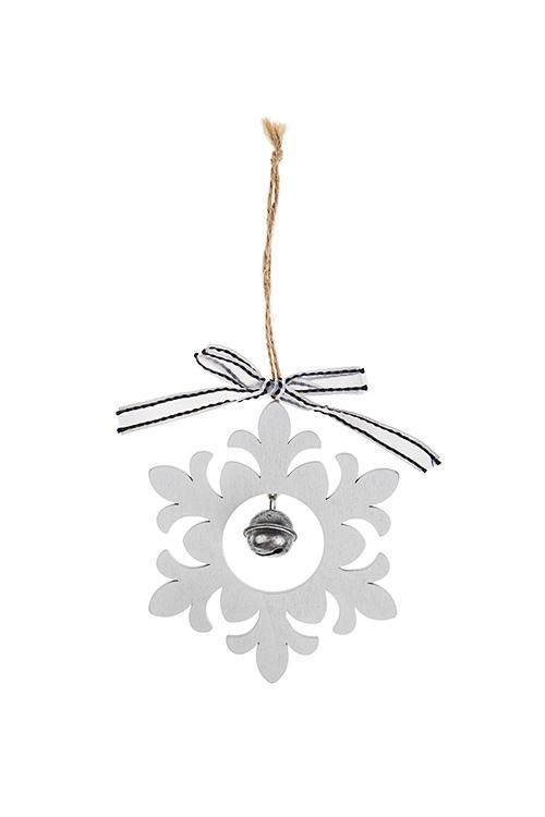 Украшение новогоднее Снежинка с колокольчикомЕлочные игрушки<br>Выс=10см, дерево, бело-серебр., подвесное<br>